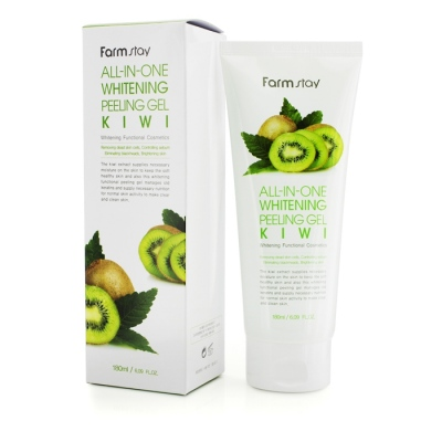 Пилинг-гель FarmStay FarmStay Snail All-In-One Whitening Peeling Gel Cream Kiwi с экстрактом улитки и киви 180 мл.